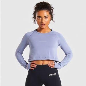 Gymshark Blue Lightweight Long Sleeve Crop Top S